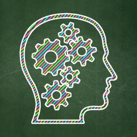 Data concept: Head With Gears icon on Green chalkboard background, 3d render photo