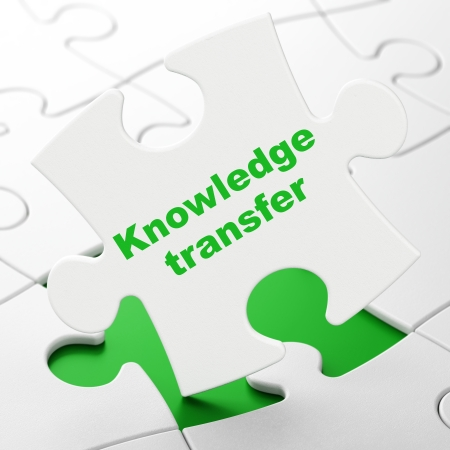 Education concept: Knowledge Transfer on White puzzle pieces background, 3d render photo