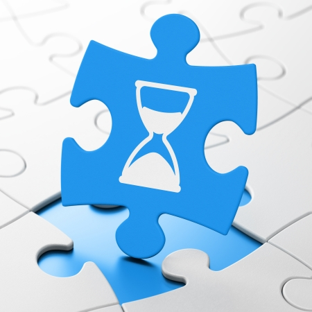 Time concept: Hourglass on Blue puzzle pieces background, 3d render photo