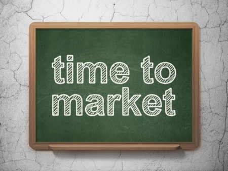 Timeline concept: text Time to Market on Green chalkboard on grunge wall background, 3d render photo
