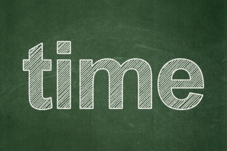 Time concept: text Time on Green chalkboard background, 3d render photo