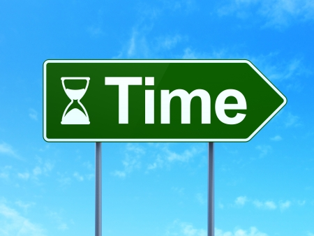 Timeline concept: Time and Hourglass icon on green road (highway) sign, clear blue sky background, 3d render photo