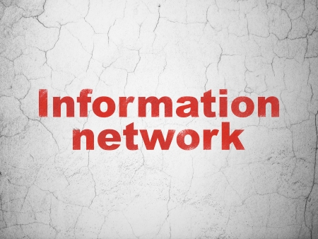 Information concept: Red Information Network on textured concrete wall background, 3d render photo