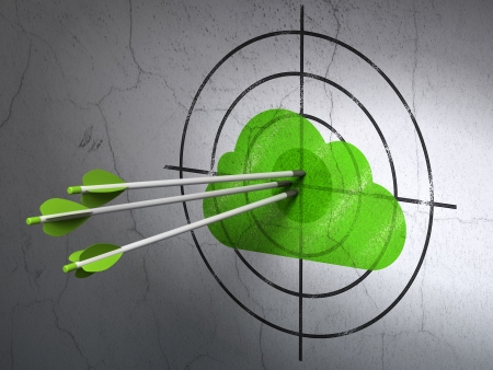 Success cloud networking concept: arrows hitting the center of Green Cloud target on wall background, 3d render photo