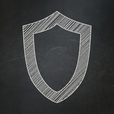 Security concept: Contoured Shield icon on Black chalkboard background, 3d render photo