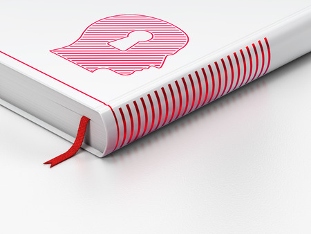 Safety concept: closed book with Red Head With Keyhole icon on floor, white background, 3d render photo