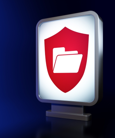Business concept: Folder With Shield on advertising billboard background, 3d render photo