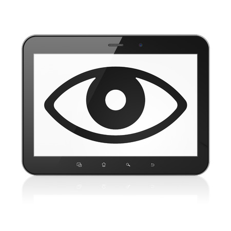 eye pad: Protection concept: black tablet pc computer with Eye icon on display. Modern portable touch pad on White background, 3d render