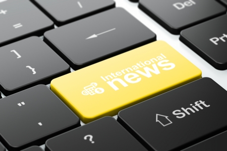 News concept: computer keyboard with Calculator icon and word International News, selected focus on enter button, 3d render photo