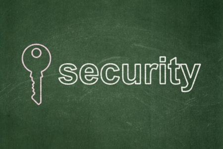 Protection concept: Key icon and text Security on Green chalkboard background, 3d render photo