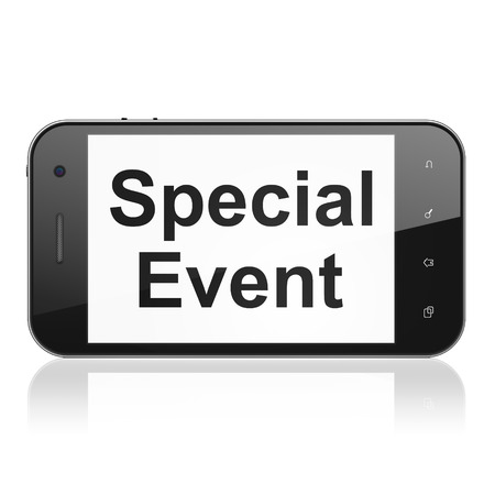 buisnes: Business concept: smartphone with text Special Event on display. Mobile smart phone on White background, cell phone 3d render