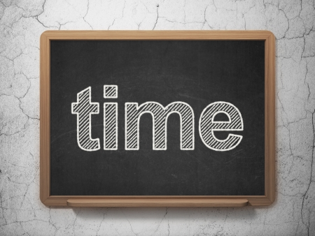 Time concept: text Time on Black chalkboard on grunge wall background, 3d render photo