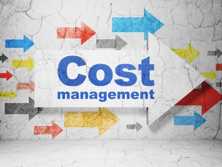busines: Finance concept:  arrow with Cost Management on grunge textured concrete wall background, 3d render