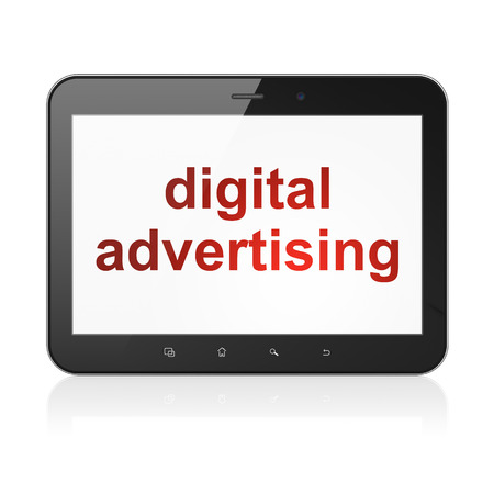 Advertising concept: black tablet pc computer with text Digital Advertising on display. Modern portable touch pad on White background, 3d render photo