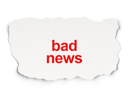 News concept: torn newspaper with words Bad News on Paper background, 3d render photo