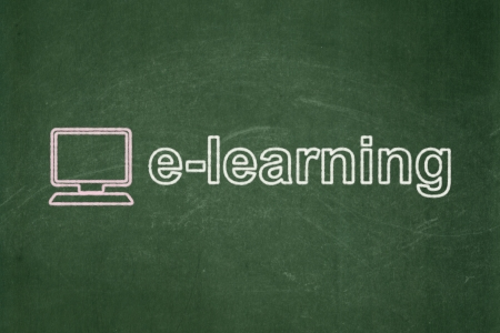 Education concept: Computer Pc icon and text E-learning on Green chalkboard background, 3d render photo