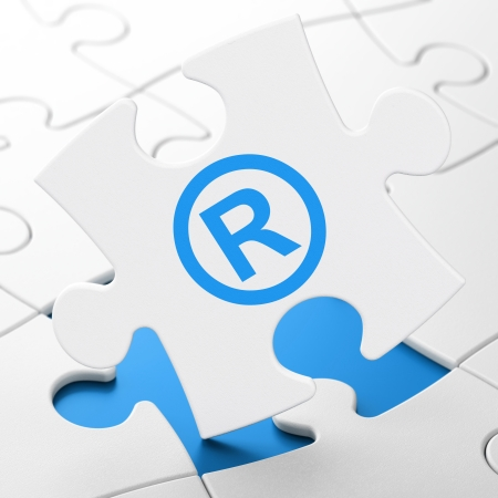 r regulation: Law concept: Registered on White puzzle pieces background, 3d render