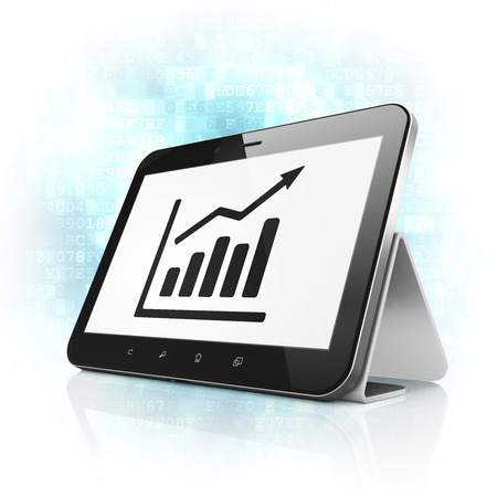 News concept: black tablet pc computer with Growth Graph icon on display. Modern portable touch pad on Blue Digital background, 3d render photo