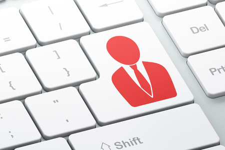 Finance concept: Enter button with Business Man on computer keyboard background, 3d render photo