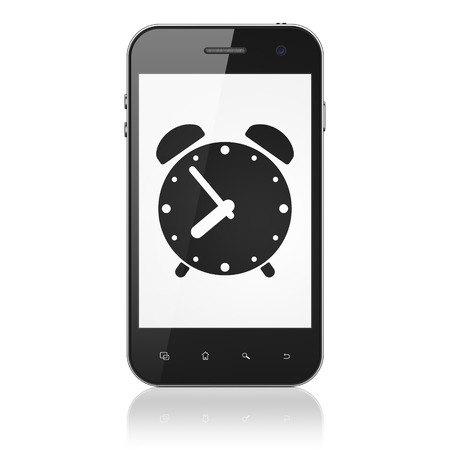 phone time: Time concept: smartphone with Alarm Clock icon on display. Mobile smart phone on White background, cell phone 3d render