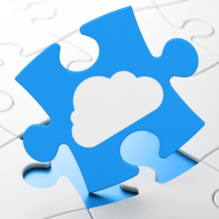 Cloud technology concept: Cloud on Blue puzzle pieces background, 3d render photo