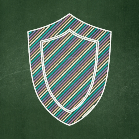 Privacy concept: Shield icon on Green chalkboard background, 3d render photo