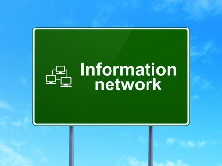 Information concept: Information Network and Lan Computer Network icon on green road (highway) sign, clear blue sky background, 3d render photo