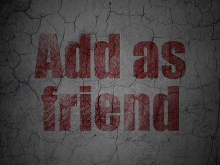 Social media concept: Red Add as Friend on grunge textured concrete wall background, 3d render photo
