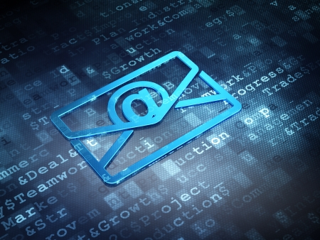 busines: Finance concept: Blue Email on digital background, 3d render Stock Photo