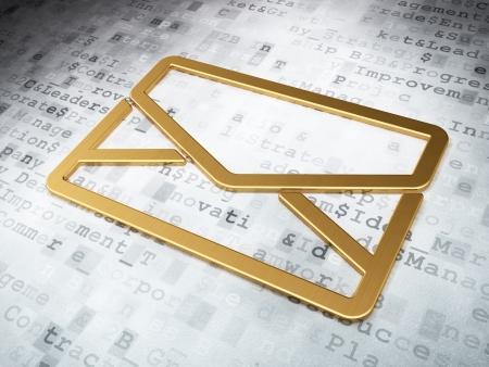 Business concept: Golden Email on digital background, 3d render photo