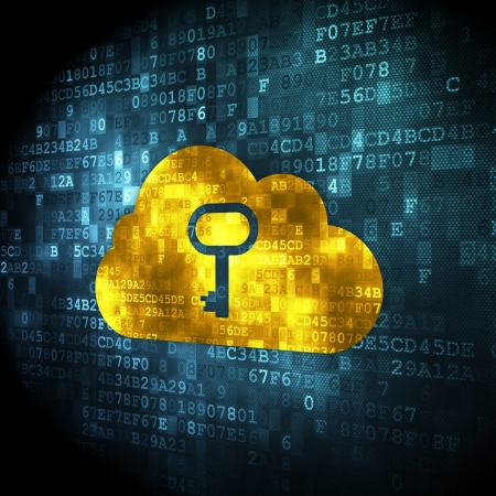 Cloud networking concept: pixelated Cloud With Key icon on digital background, 3d render photo