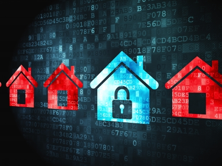 access granted: Privacy concept: pixelated Home icon on digital background, 3d render