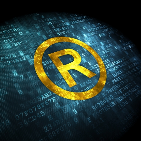 Law concept: pixelated Registered icon on digital background, 3d render Stock Photo - 25292329