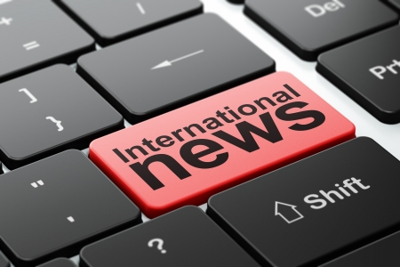 urgent announcement: News concept: computer keyboard with word International News, selected focus on enter button background, 3d render