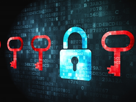 lock symbol: Protection concept: pixelated Padlock And Key icon on digital background, 3d render Stock Photo