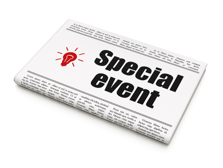 buisnes: Finance concept: newspaper headline Special Event and Light Bulb icon on White background, 3d render Stock Photo