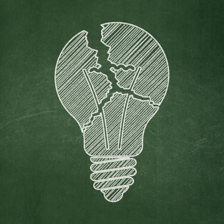 buisnes: Business concept: Light Bulb icon on Green chalkboard background, 3d render