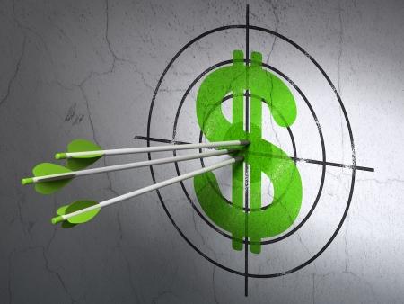 Concepto de moneda de �xito: flechas golpear el centro de destino verde del d�lar en el fondo de la pared, render 3D