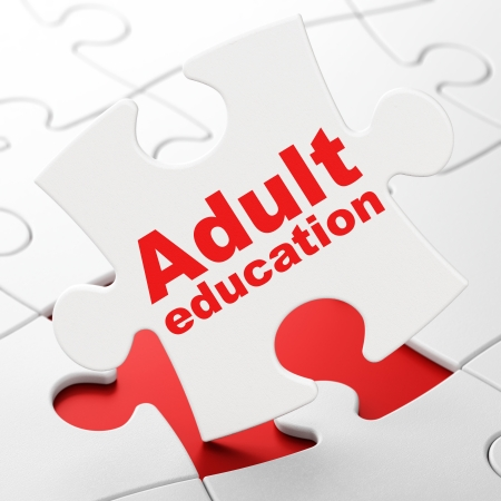 Education concept: Adult Education on White puzzle pieces background, 3d render photo