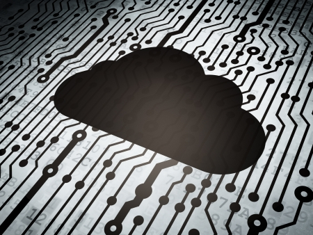 Cloud computing concept: circuit board with  Cloud icon, 3d render photo