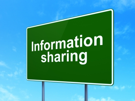 Information concept: Information Sharing on green road (highway) sign, clear blue sky background, 3d render photo