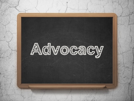 Law concept: text Advocacy on Black chalkboard on grunge wall background, 3d render photo