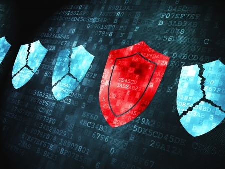 3d shield: Privacy concept: pixelated Shield icon on digital background, 3d render