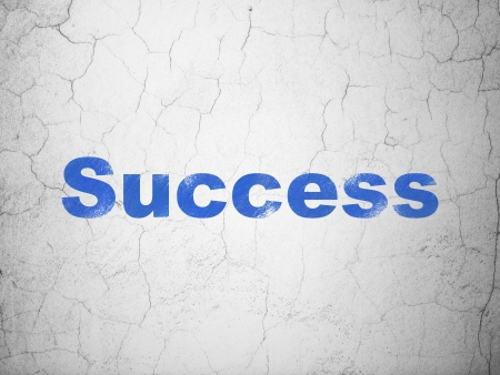 busines: Finance concept: Blue Success on textured concrete wall background, 3d render Stock Photo