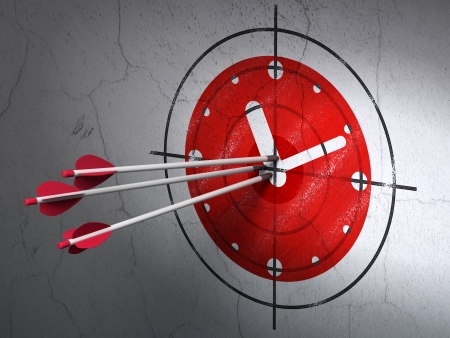 Success timeline concept: arrows hitting the center of Red Clock target on wall background, 3d render photo