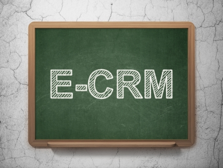ecrm: Business concept: text E-CRM on Green chalkboard on grunge wall background, 3d render Stock Photo