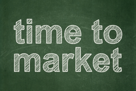 Time concept: text Time to Market on Green chalkboard background, 3d render photo