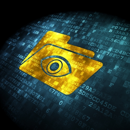 Business concept: pixelated Folder With Eye icon on digital background, 3d render photo