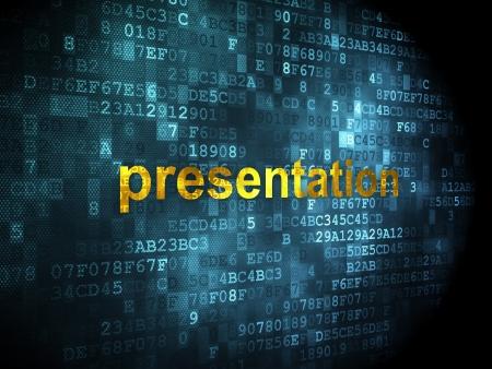 Advertising concept: pixelated words Presentation on digital background, 3d render photo
