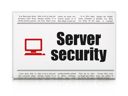 Privacy concept: newspaper headline Server Security and Computer Pc icon on White background, 3d render photo